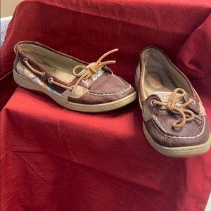 Sperry topsiders in brown and plaid and brown